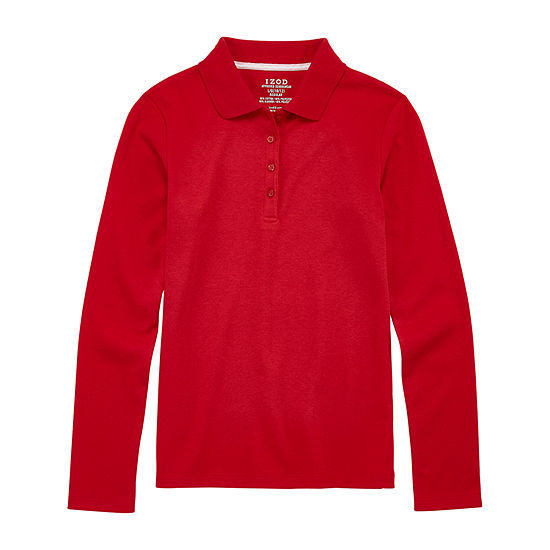 IZOD Little & Big Girls Long Sleeve Polo Shirt