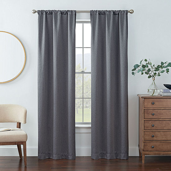 Eclipse Kerry Energy Saving Blackout Rod-Pocket Set of 2 Curtain Panel