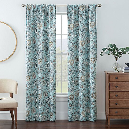 Eclipse Kerry Floral Energy Saving Blackout Rod-Pocket Set of 2 Curtain Panel