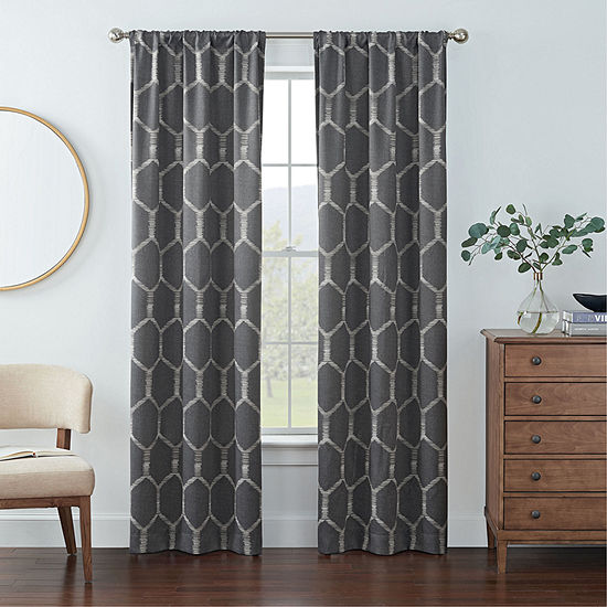 Eclipse Kerry Geo Print Energy Saving Blackout Rod-Pocket Set of 2 Curtain Panel