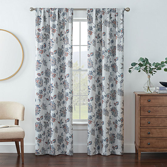 Eclipse Kerry Jacobean Energy Saving Blackout Rod-Pocket Set of 2 Curtain Panel