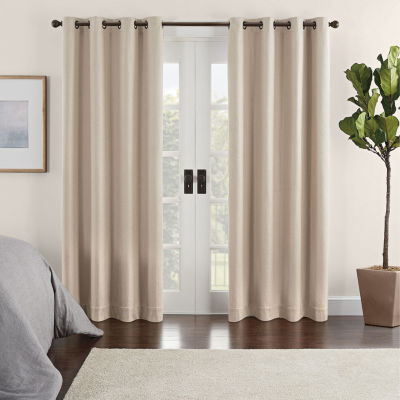 Eclipse Ambiance Chevron Draft Stopper Energy Saving 100% Blackout Grommet-Top Single Curtain Panel