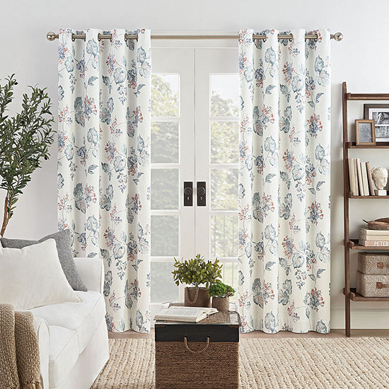Eclipse Ambiance  Floral Draft Stopper Energy Saving 100% Blackout Grommet-Top Curtain Panel
