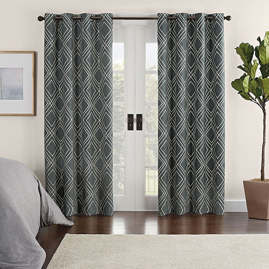 Eclipse Ambiance Geo Print Draft Stopper Energy Saving 100% Blackout Grommet-Top Single Curtain Panel