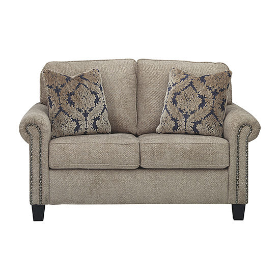 Signature Design By Ashley Basiley Roll Arm Loveseat