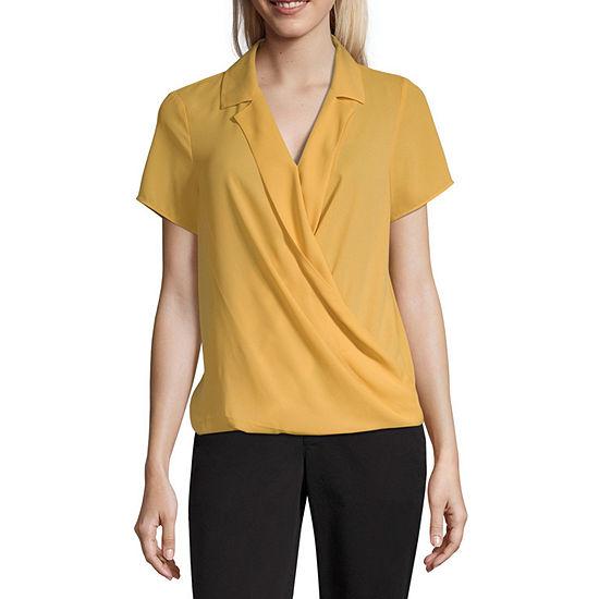 Worthington Womens Short Sleeve Blouse
