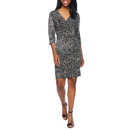 London Style 3/4 Sleeve Cheetah Midi Sheath Dress