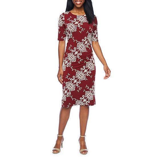 Ronni Nicole Short Sleeve Scroll Sheath Dress