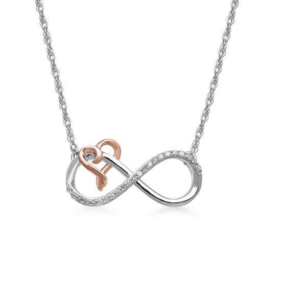 Hallmark Diamonds 1/10 CT. T.W. Genuine Diamond Sterling Silver & 14K Rose Gold over Silver Heart Necklace
