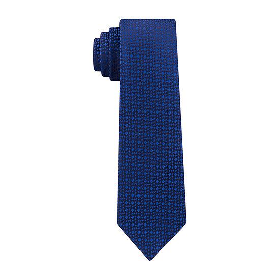 JF J.Ferrar Micro Square Solid Tie With Tie Bar Tie