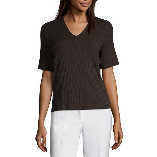 Worthington-Womens V Neck Short Sleeve T-Shirt
