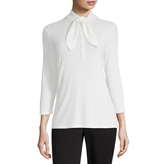 Worthington Womens Tie Neck 3/4 Sleeve Top