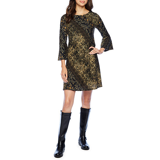 Jessica Howard 3/4 Bell Sleeve Shift Dress