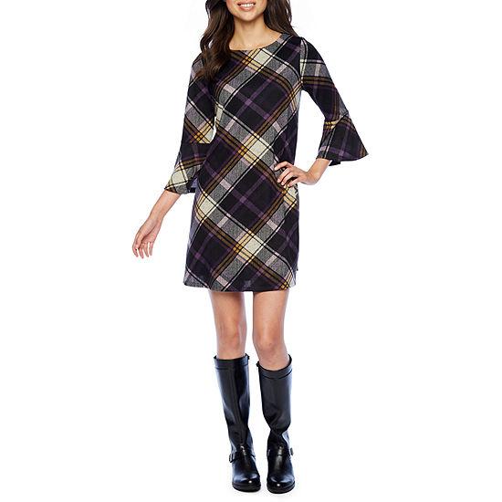 Jessica Howard 3/4 Sleeve Plaid A-Line Dress