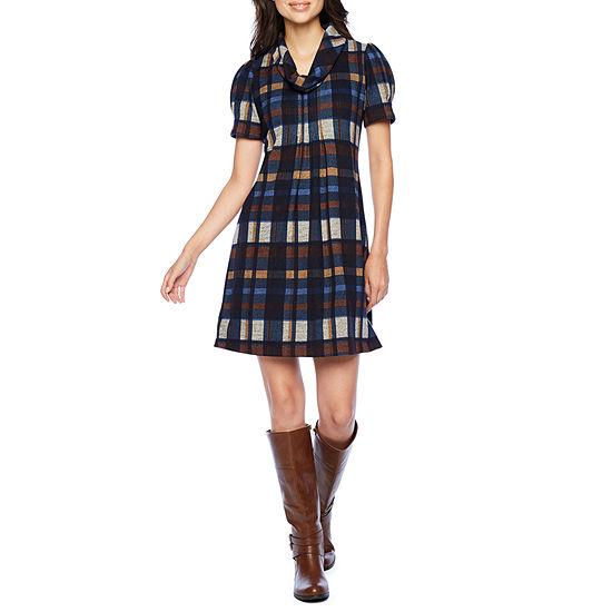 Jessica Howard-Petite Short Sleeve Plaid Shift Dress