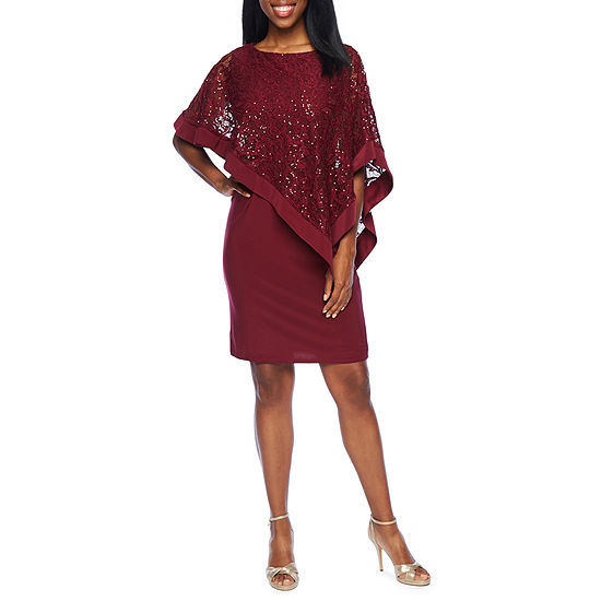 R & M Richards 3/4 Sleeve Sequin Lace Cape Sheath Dress