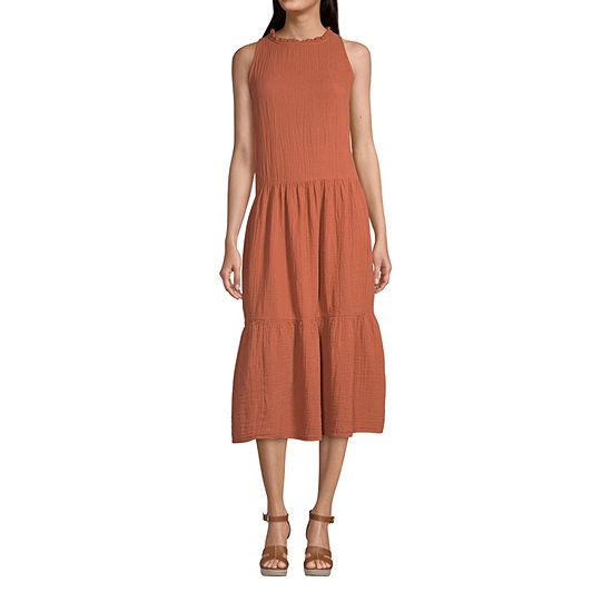 a.n.a-Tall Womens Sleeveless Midi Shift Dress