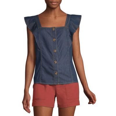 a.n.a Womens Square Neck Sleeveless Blouse