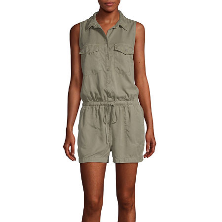 a.n.a Sleeveless Romper, X-small , Green