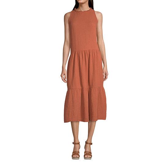 a.n.a Sleeveless Midi Drop Waist Dress