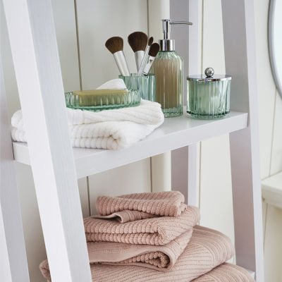 Casual Green Glass Bath Accessories Collection