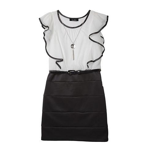 by&by Girl Ruffle-Sleeve Skirt Dress - Girls 7-16