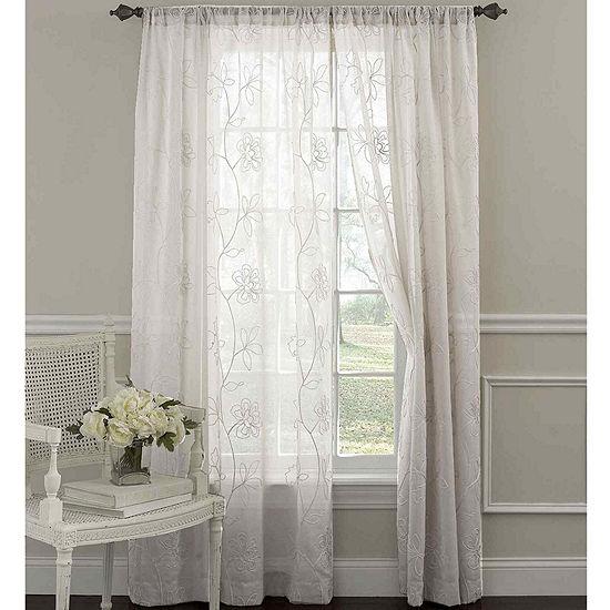 Laura Ashley® Frosting Rod-Pocket 2-Pack Sheer Curtain Panels