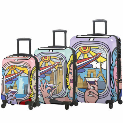 Mia Toro Italy Jozza Airplane 3-pc. Hardside Luggage Set