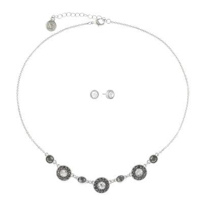 Liz Claiborne Gray Silver Tone Round 2-pc. Jewelry Set