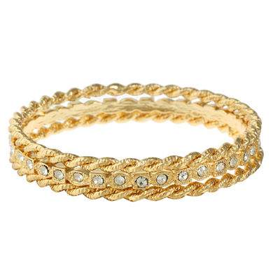 Monet Jewelry Clear Gold Tone Bangle Bracelet