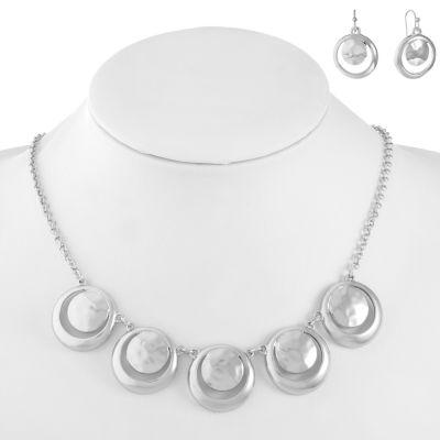 Liz Claiborne Womens Silver Tone Round 2 Pair Jewelry Set