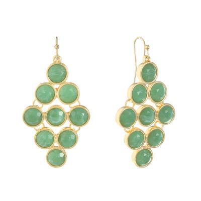 Monet Jewelry Green Chandelier Earrings