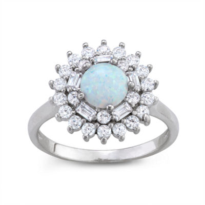 Womens White Opal Sterling Silver Cocktail Ring