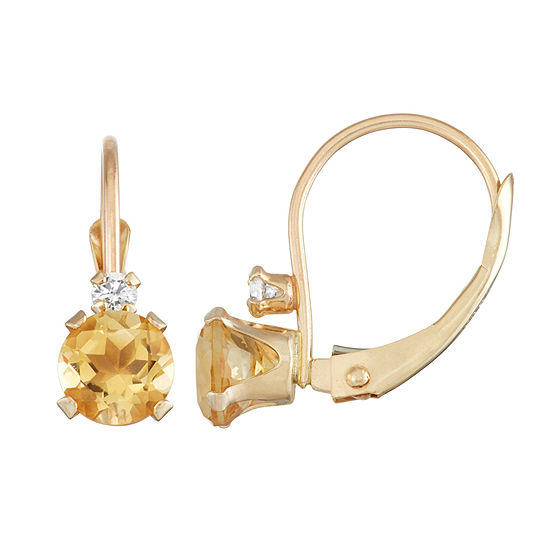 Genuine Yellow Citrine 10K Gold Drop Earrings