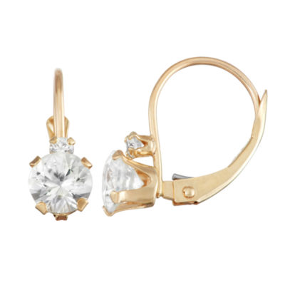 Lab Created White Sapphire 10K Gold Drop Earrings