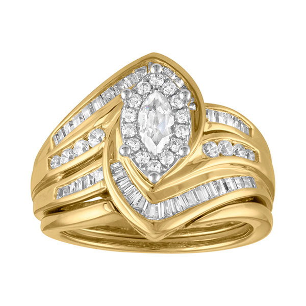 Womens 1 CT. T.W. Genuine Diamond 14K Gold Bridal Set