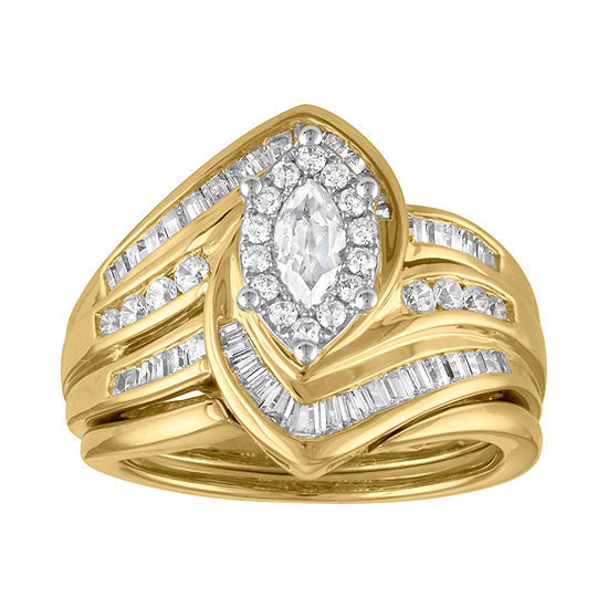Womens 1 CT. T.W. Genuine Diamond 14K Gold Bridal Set