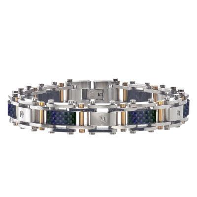 Mens 8 1/2 Inch Diamond Accent White Diamond Stainless Steel Link Bracelet