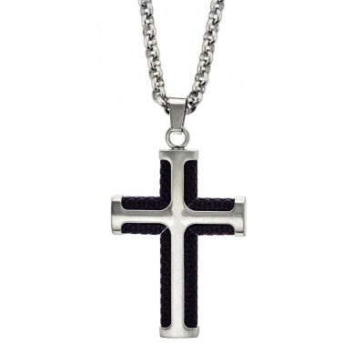 Mens Stainless Steel Cross Pendant Necklace