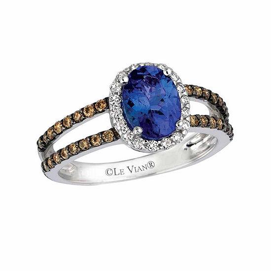 Le Vian Grand Sample Sale™ Blueberry Tanzanite® & 3/8 CT. T.W. Chocolate Diamonds® and Vanilla Diamonds® in 14k Vanilla Gold® Chocolatier® Ring