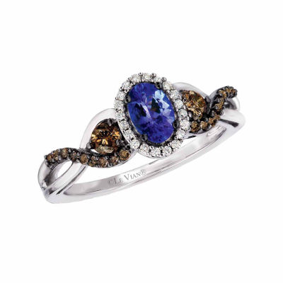 Grand Sample Sale™ by Le Vian® Blueberry Tanzanite® & 1/2 CT. T.W. Vanilla Diamonds® and Chocolate Diamonds® in 14k Vanilla Gold® Chocolatier® Ring