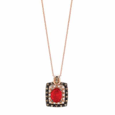 Grand Sample Sale™ by Le Vian® Neon Tangerine Fire Opal® 1/3CT. T.W. Vanilla Diamonds® & Chocolate Diamonds® in14k Strawberry Gold® Pendant Necklace
