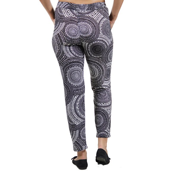24/7 Comfort Apparel Black And White Oriental Knit Pull-On Pants