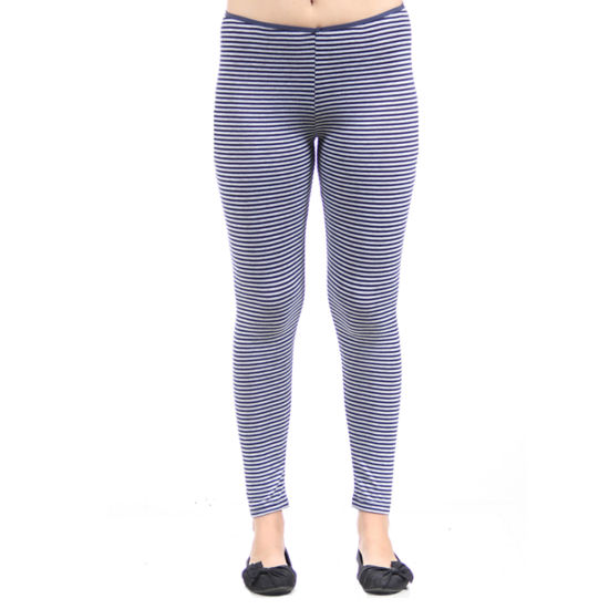 24/7 Comfort Apparel Navy Grey Stripped Knit Leggings