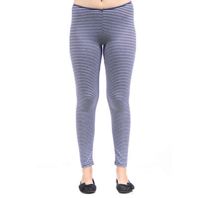 24/7 Comfort Apparel Navy Grey Stripped Unisex Legging