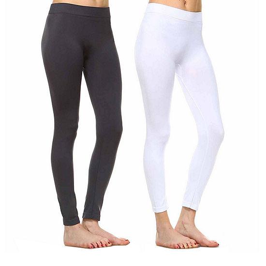 White Mark Set of 2 Solid Skinny Knit Leggings