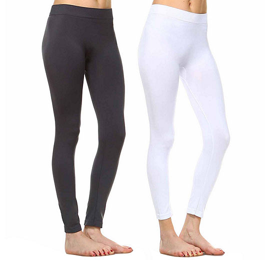 White Mark Set Of 2 Solid Skinny Knit Leggings