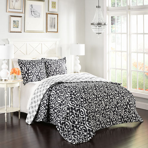 Marble Hill Hadley 3-pc. Damask + Scroll Midweight Reversible Comforter Set