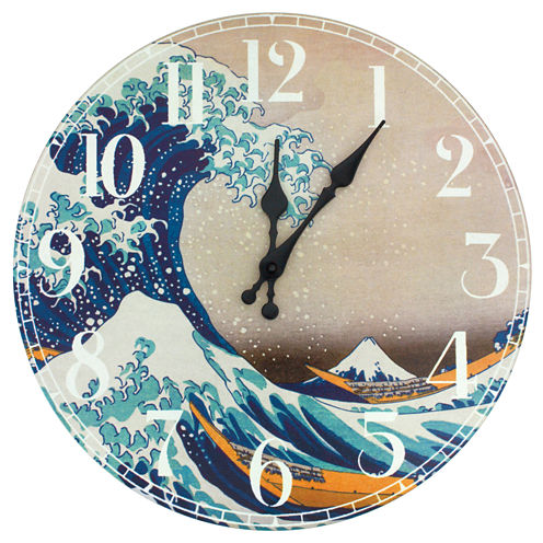 Oriental Furniture Great Wave Off Kanagawa Wall Clock