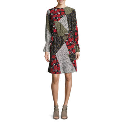 Libby Edelman Long Sleeve Mix Print Dress